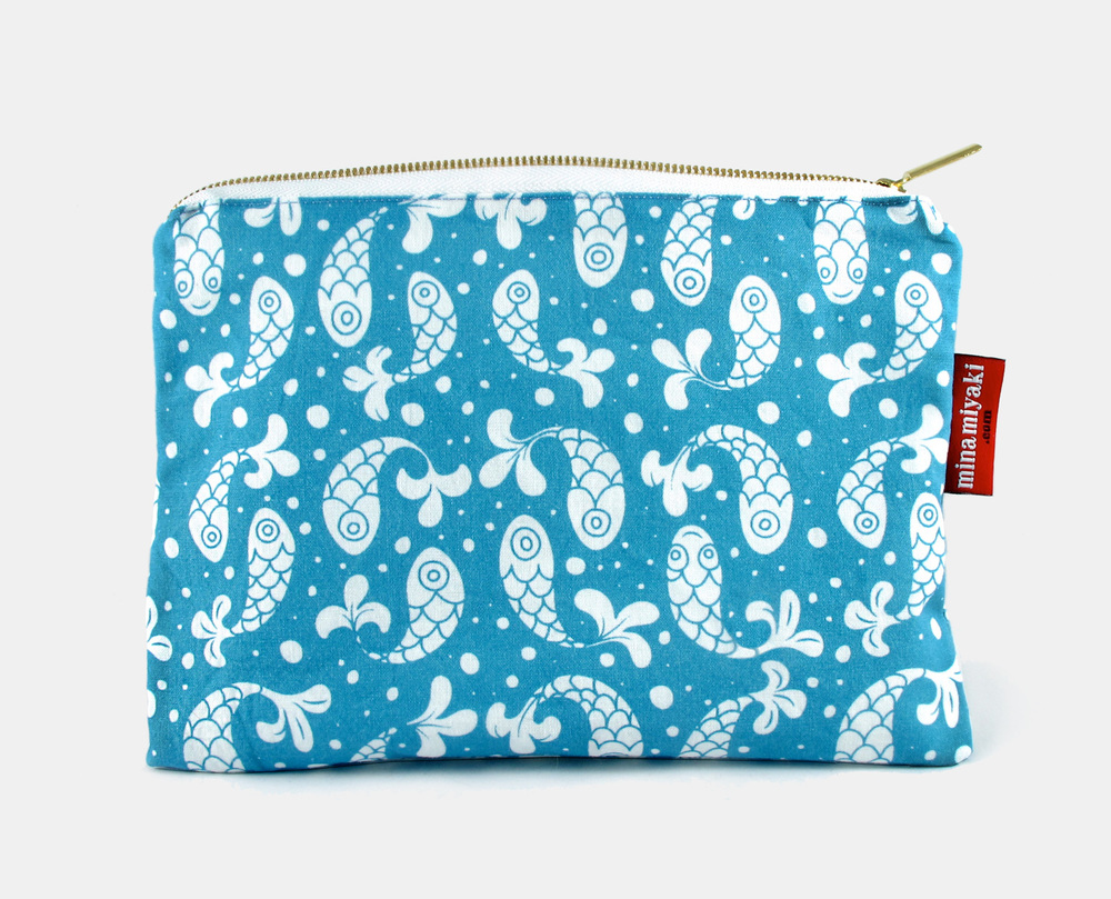 Bubble Fish Pouch in Blue $25