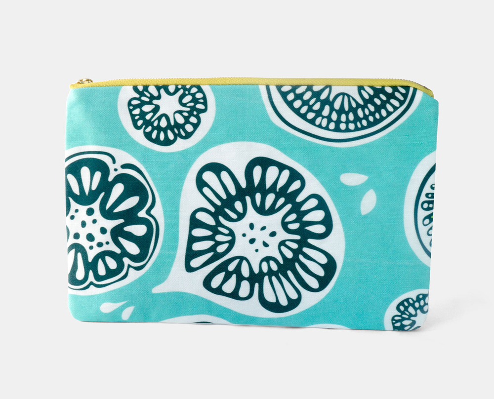 New Frutti Print Zipper Flat Pouch in Blue $25