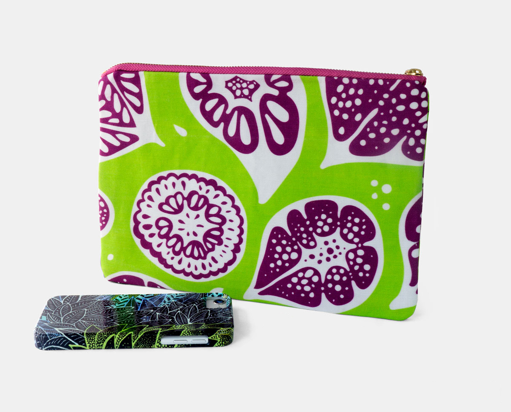 New Frutti Print Zipper Flat Pouch in Lime Green and Purple $25