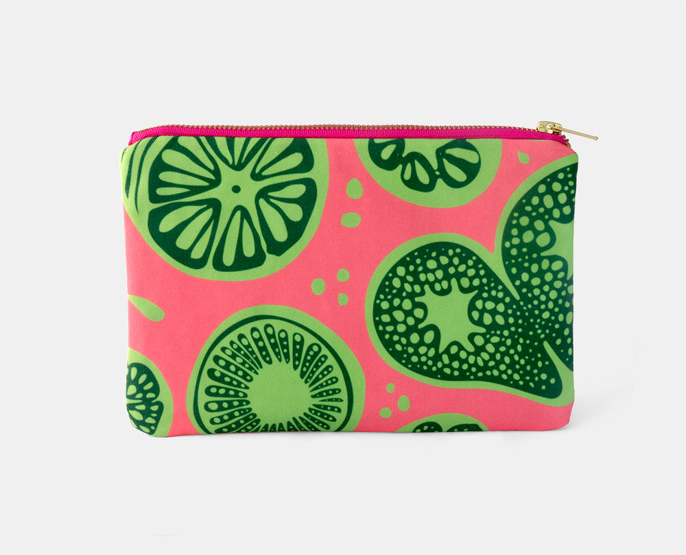Frutti Print Zipper Flat Pouch in Pink-Green $25
