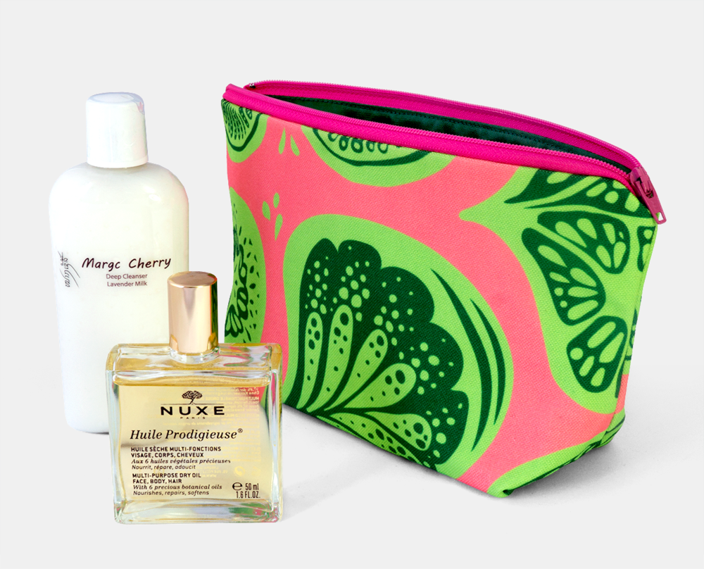 New Frutti Print Zipper Flat bottom Pouch in Pink and Lime Green $25