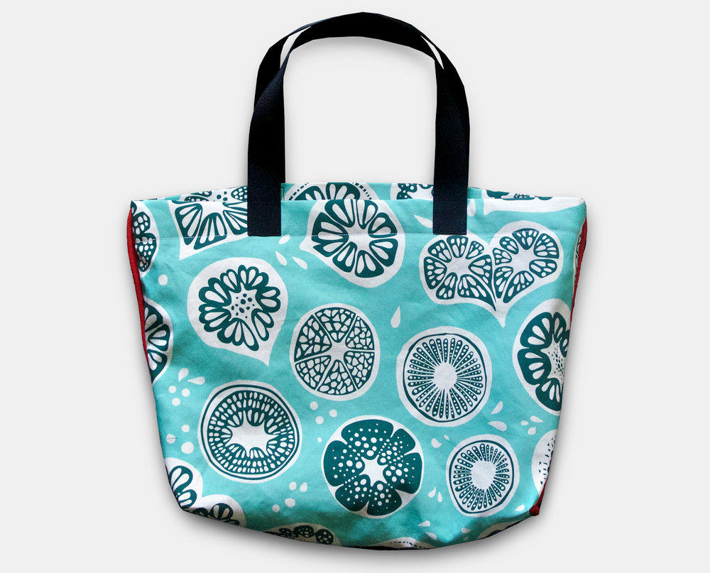 New Frutti Print Tote in Blue $75