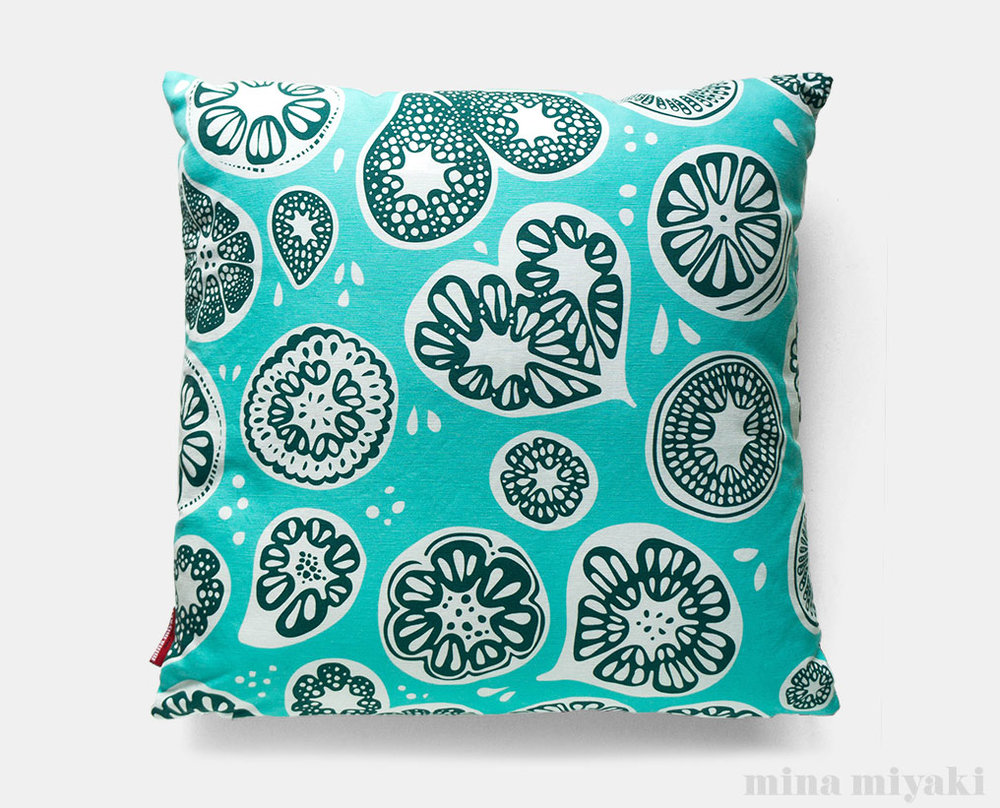 Frutti Print Pillow in Blue $45