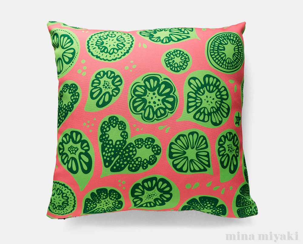 Frutti Print Pillow in Pink and Green   $45