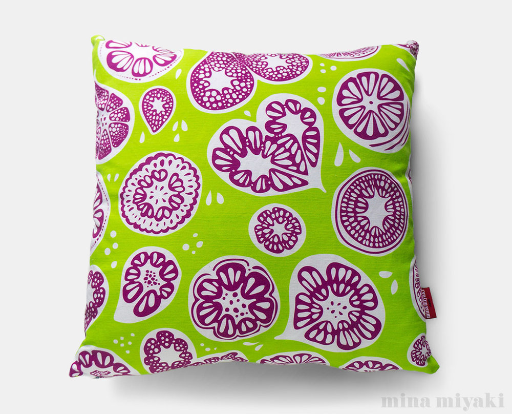 Frutti Print Pillow in Lime Green and Purple   $45