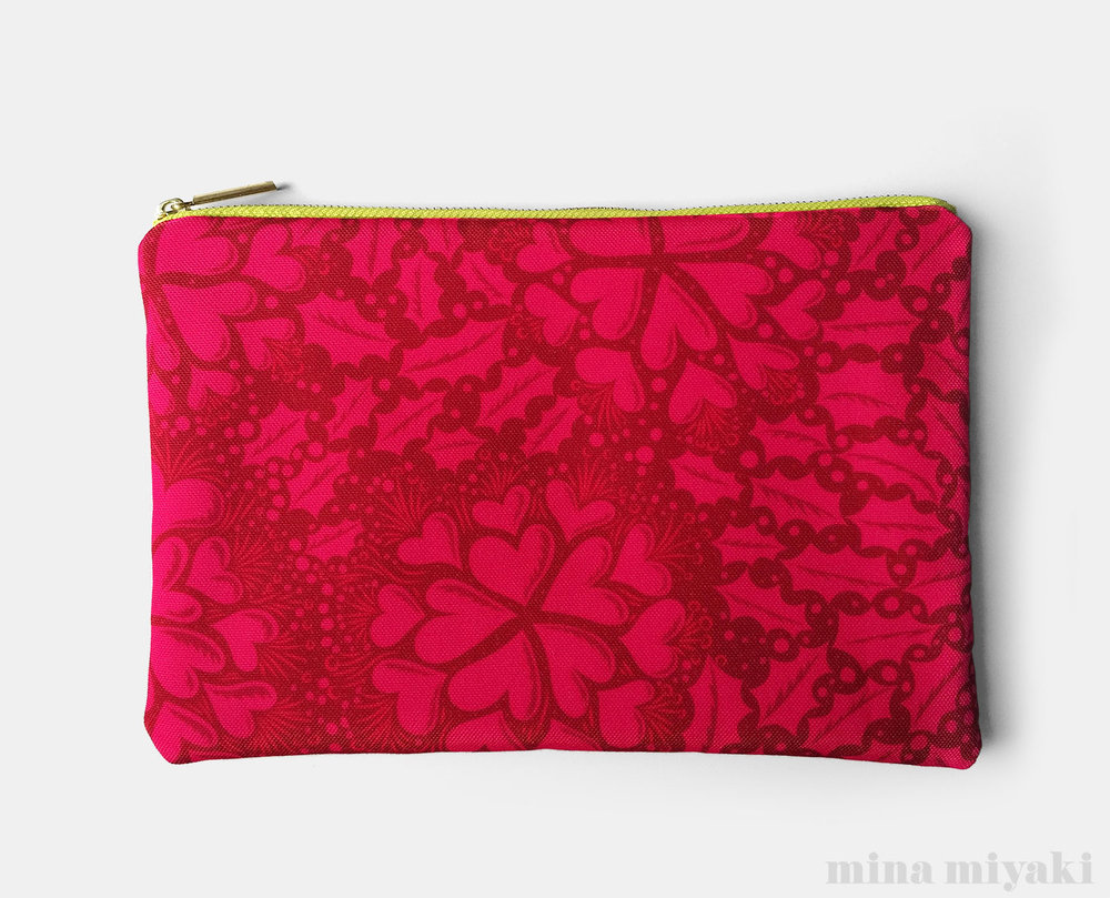 Holly Heart Flat Pouch $25