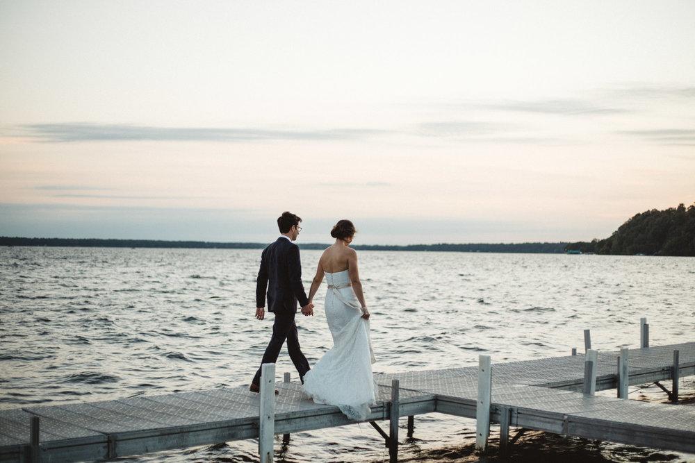 Gorgeous sunset on Gull Lake, photography by Britt DeZeeuw, Grand View Lodge wedding photographer