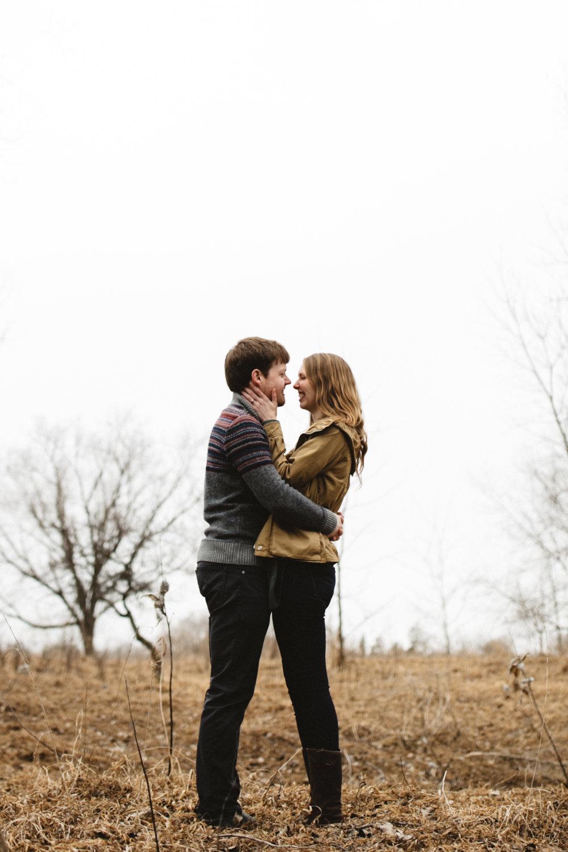 Natural and candid engagement photos at the Northland Arboretum captured by Britt DeZeeuw, Brainerd Minnesota wedding photographer
