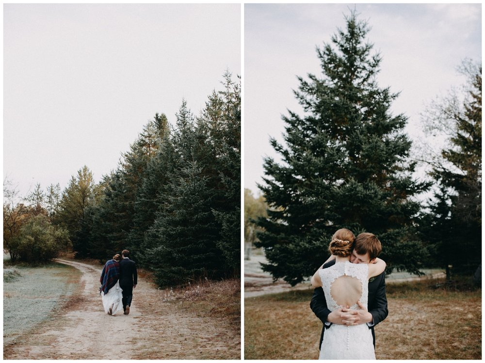 Frosty fall wedding at the Northland Arboretum in Brainerd Minnesota