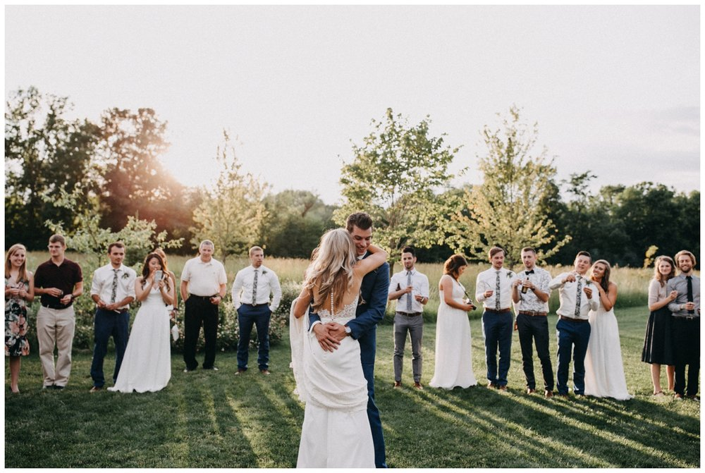 Sunset wedding dance at Creekside Farm in Rush City, MN photographed by Britt DeZeeuw