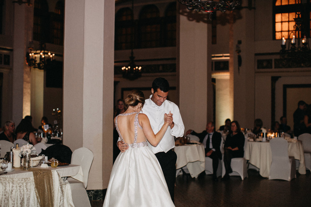 Bride and groom first dance in the Moorish room at the Greysolon in Duluth Minnesota