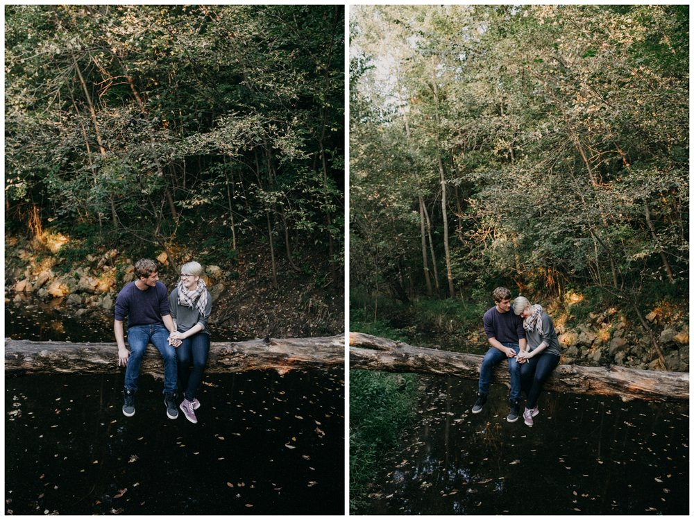 Casual Minnesota summer engagement session on the Rum River
