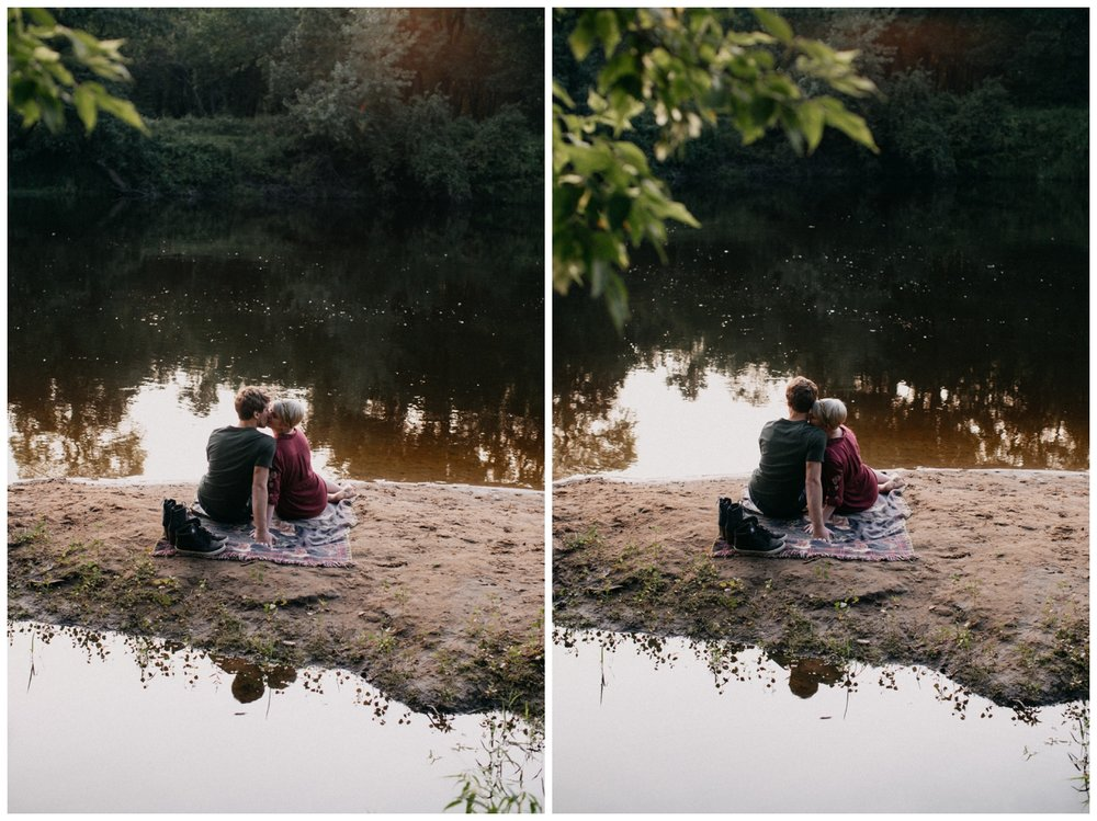 Rum River romantic engagement session in Minnesota