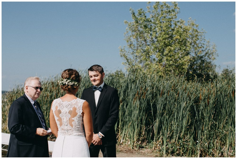 Destination beach wedding ceremony on the lake in Brainerd Minnesota