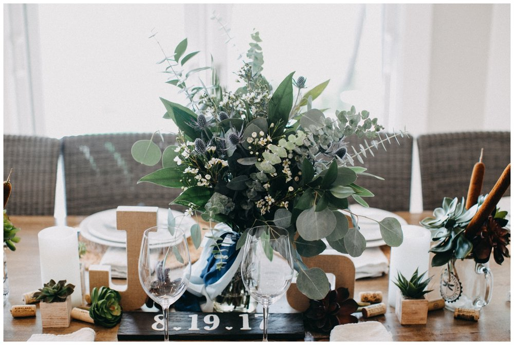 DIY table setting at intimate Lake Edward wedding