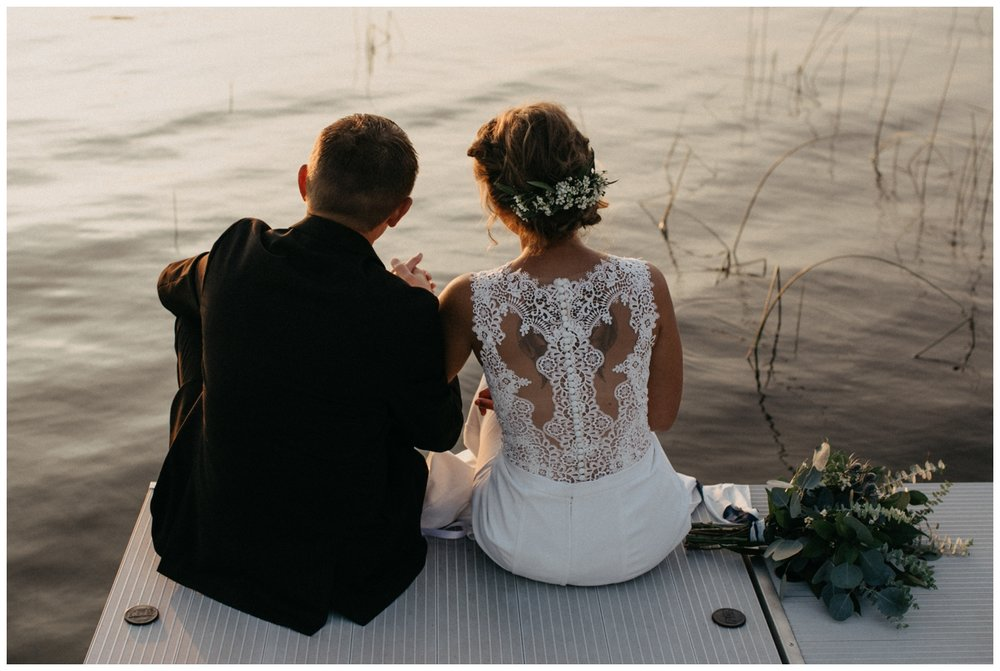 Intimate and romantic lake cabin wedding at sunset in Brainerd Minnesota