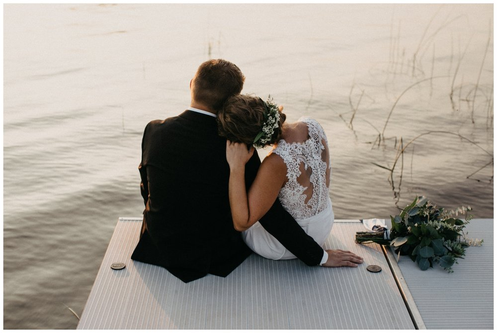 Romantic and relaxed beach wedding at sunset on Lake Edward