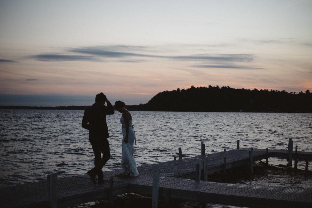 Gull Lake wedding at sunset