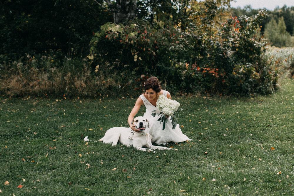 Bride posing with her dog at barn wedding in Brainerd Minnesota