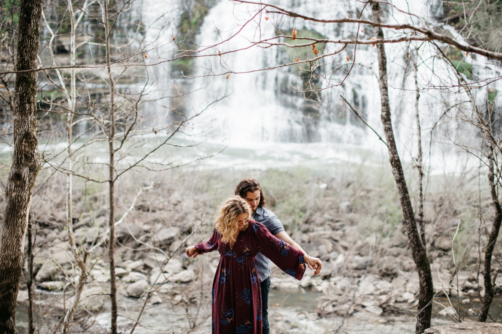Waterfall engagement session at Rock Island State Park by Nashville, TN wedding photographer Britt DeZeeuw