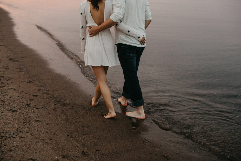 Sunset engagement session on lake Superior  by Duluth photographer Britt DeZeeuw