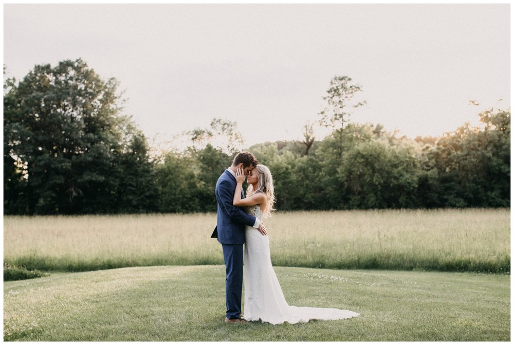 Bride and groom sunset portraits at Creekside Farm