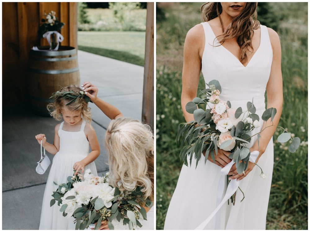 Simple and minimalistic white wedding details at Creekside Farm