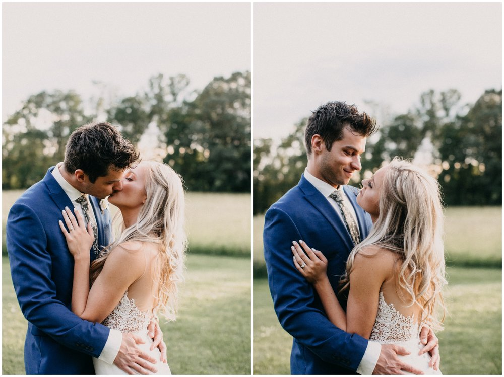 Intimate moment at sunset with bride and groom at Creekside Farm