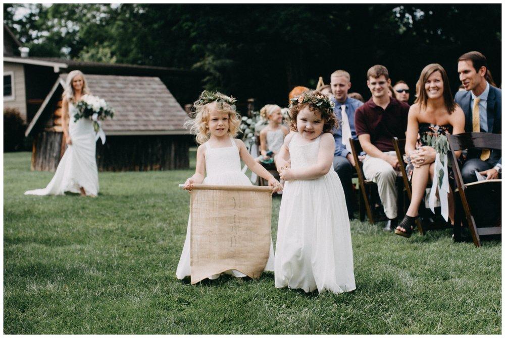Flower girls at Creekside Farm wedding ceremony