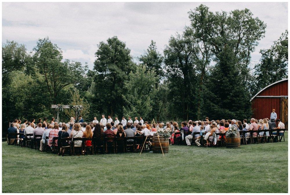 Creekside Farm outdoor wedding ceremony in July