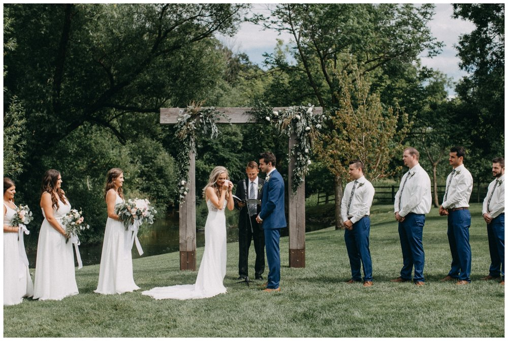 Emotional wedding ceremony at Creekside Farm