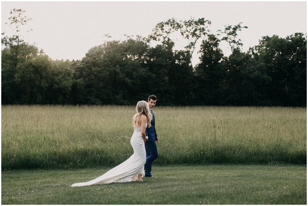 Bride and groom during sunset at Creekside Farm wedding