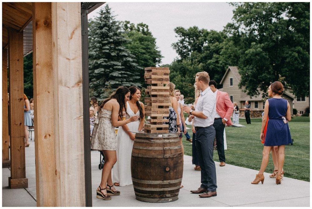 Jumbo JENGA game at Creekside Farm wedding reception