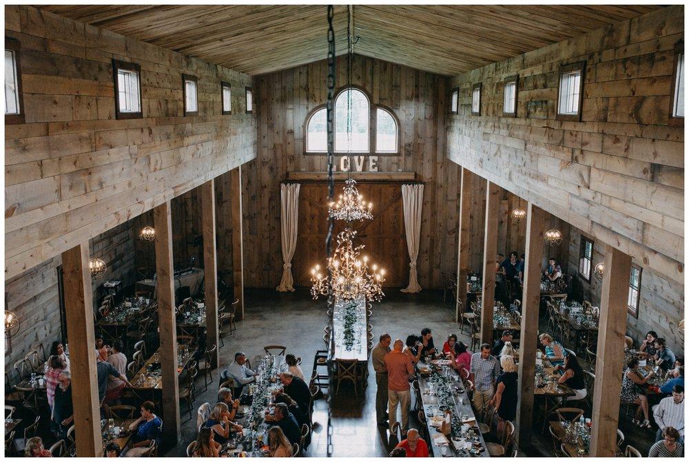 Rustic chic barn wedding reception at Creekside Farm