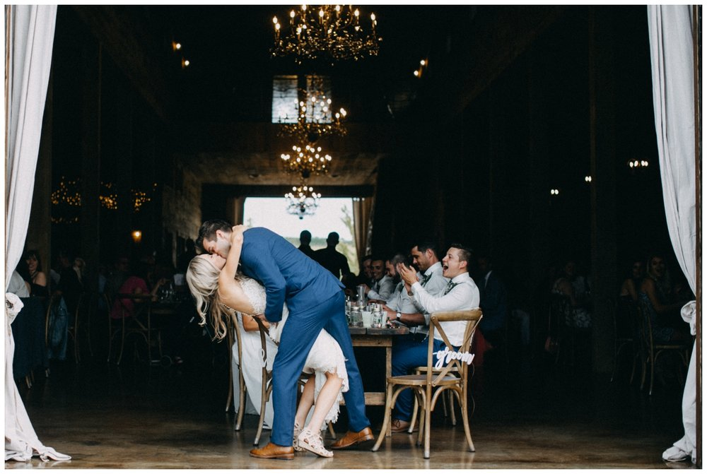 Barn wedding reception with chandeliers at Creekside Farm