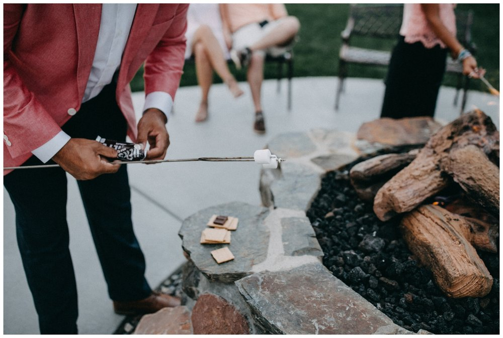 S'mores and a bonfire during Creekside Farm wedding reception