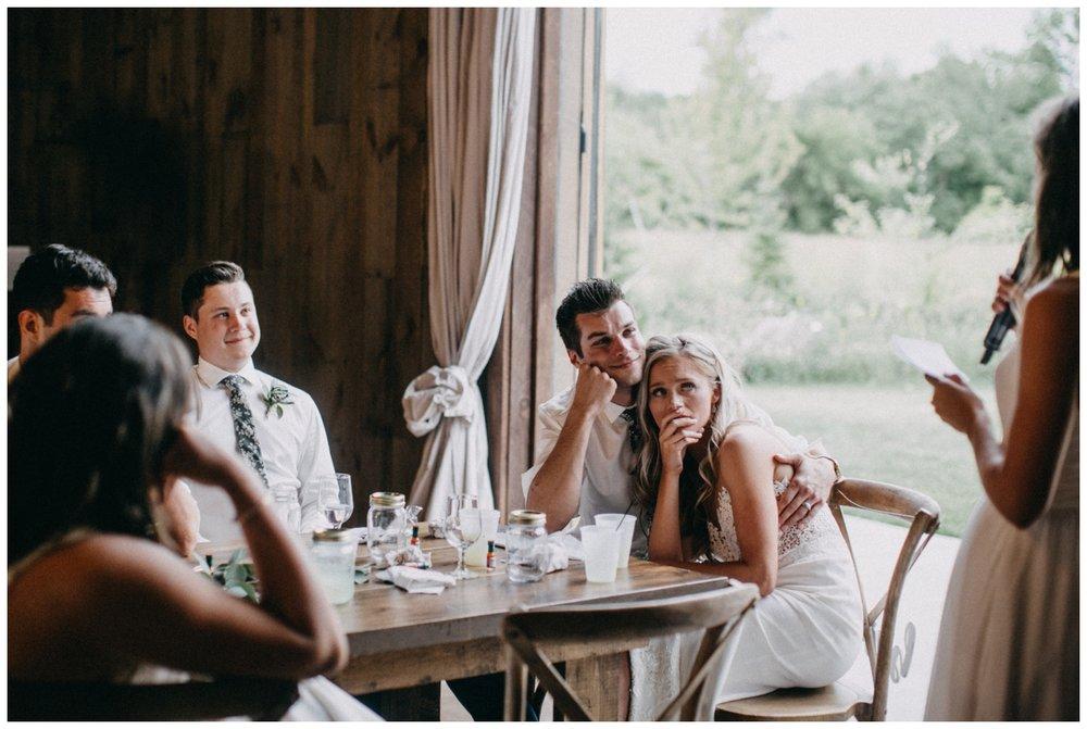 Emotional maid of honor speech during Creekside Farm wedding reception