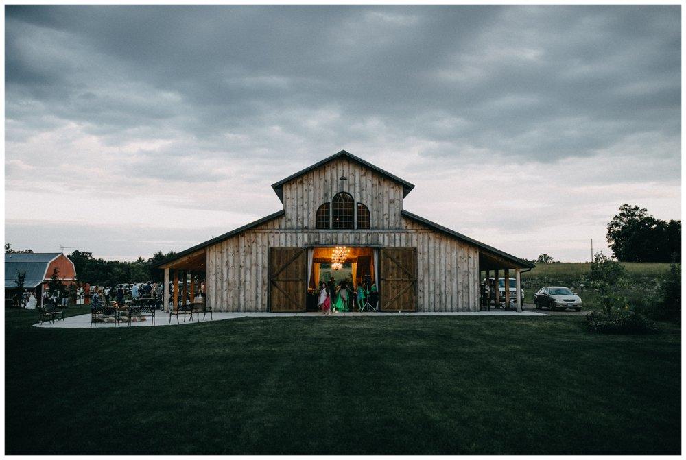 Rustic chic barn wedding reception at Creekside Farm wedding