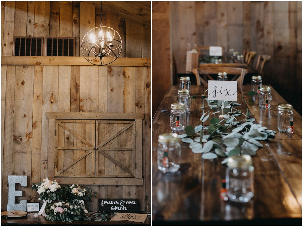 Simple and elegant table settings at Creekside Farm wedding reception