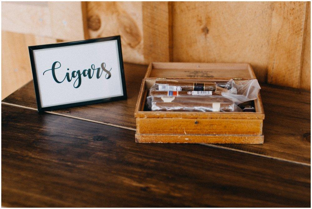 Cigar bar at Creekside Farm wedding reception