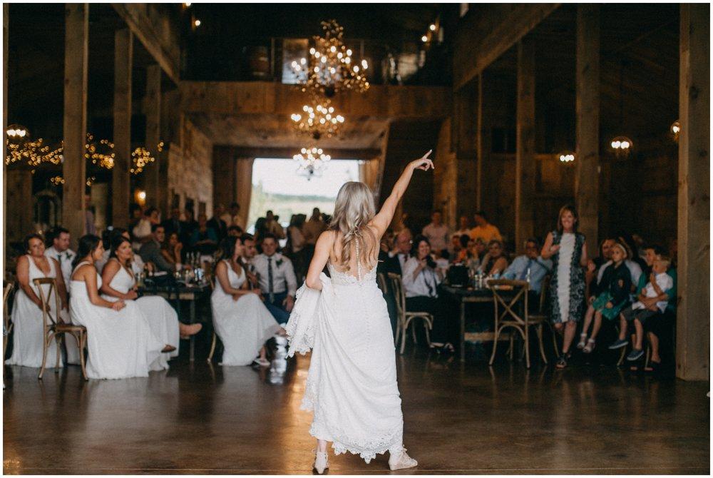 Bride dancing at Creekside farm wedding