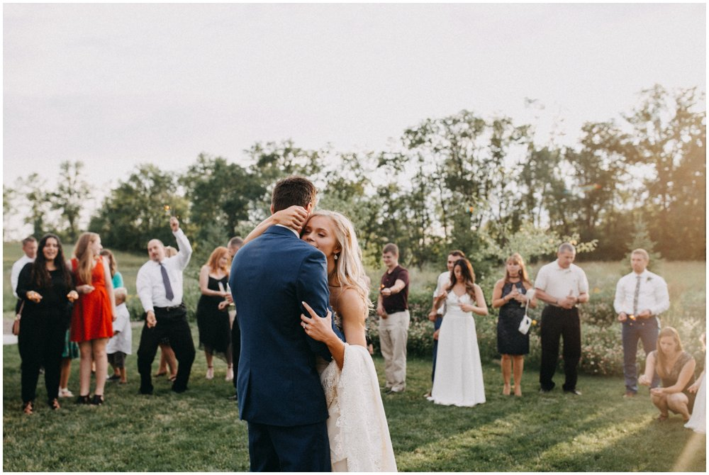 Bride and groom first wedding dance during sunset at Creekside Farm