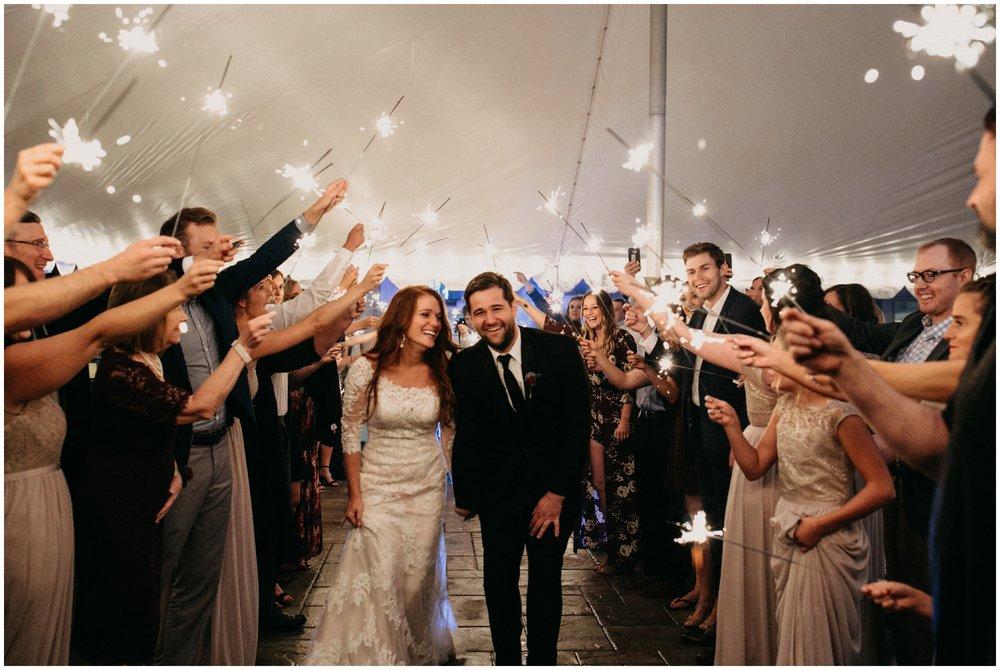 Sparkler wedding exit at the Quarterdeck on Gull Lake