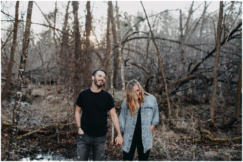Engagement session in the woods in Brainerd Minnesota