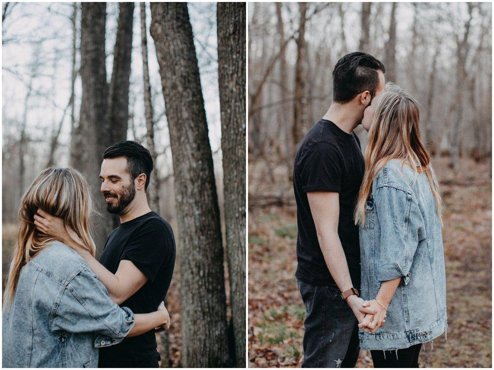 Modern engagement session in the woods by Brainerd Photographer Britt DeZeeuw