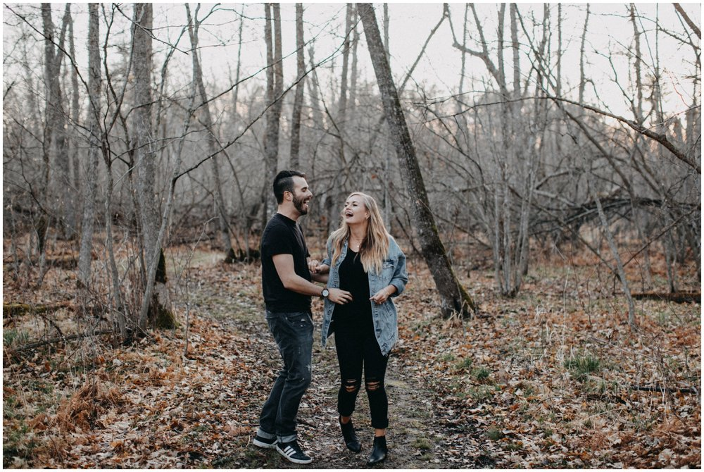 Natural and candid northwoods engagement session in Brainerd Minnesota