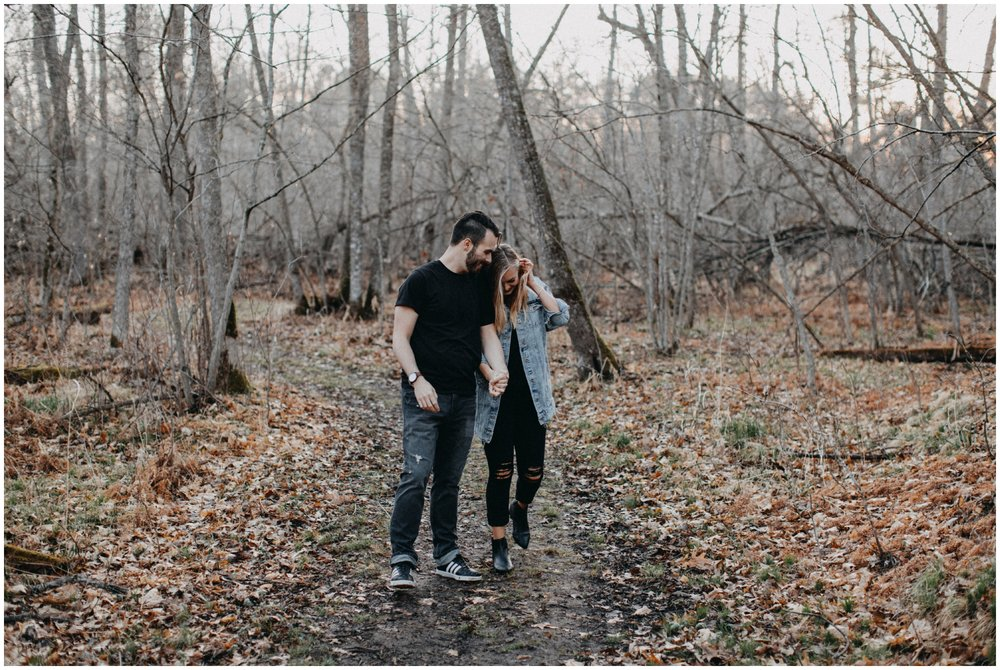 Carefree engagement session in the woods at Fritz Loven Park