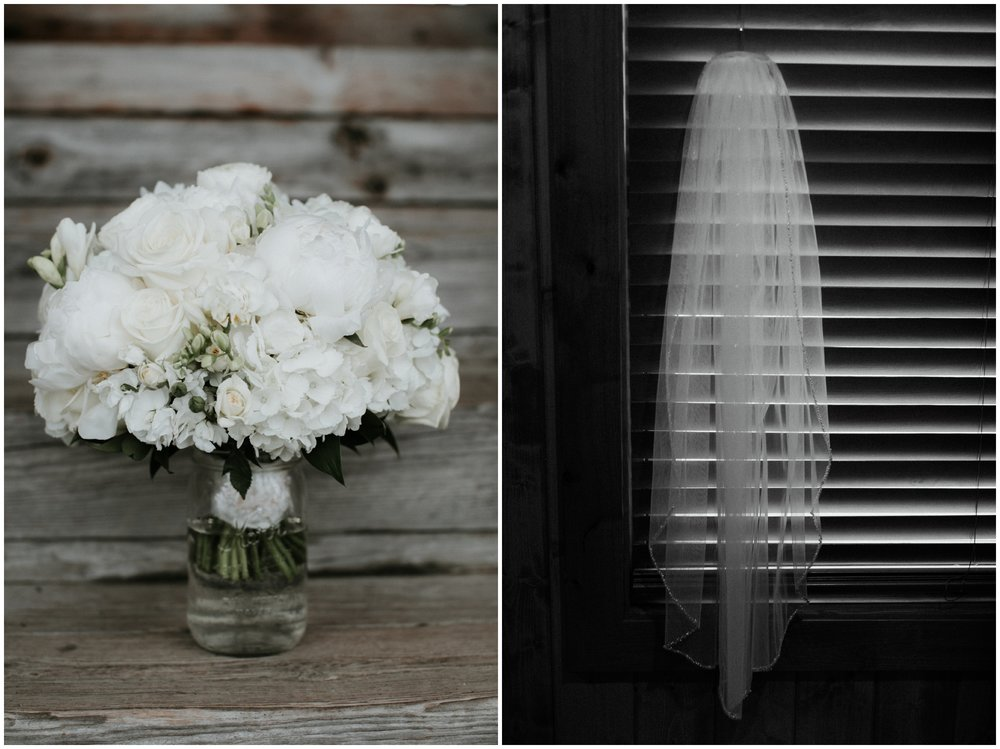 Simple and beautiful all white wedding bouquet at cabin wedding on Gull Lake
