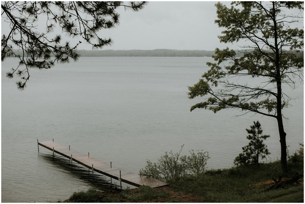 Rainy Spring wedding on gull lake in Brainerd Minnesota