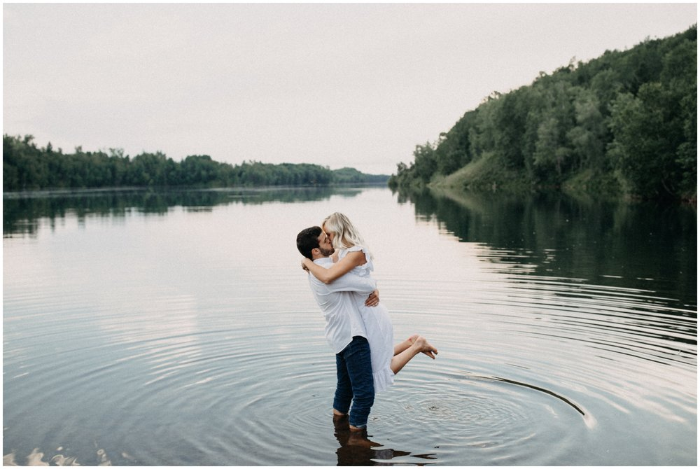 Romantic engagement session at the lake in Crosby MN